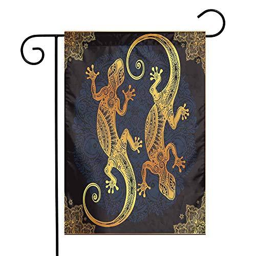 Mandala Garden Flag Artistic Gecko Lizards Boho Framework Tropical Henna Tattoo Style Premium Material W12 x L18 Dark Orange Yellow Dark Blue