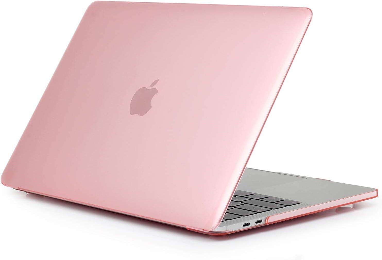 TECOOL Funda para MacBook Pro 13 2016-2020 (Modelo: A2338 M1/ A2289/A2251/A2159/A1706/A1708/A1989), Delgado Cubierta de Plástico Dura Case Carcasa para MacBook Pro 13 con/sin Touch Bar - Cristal Rosa