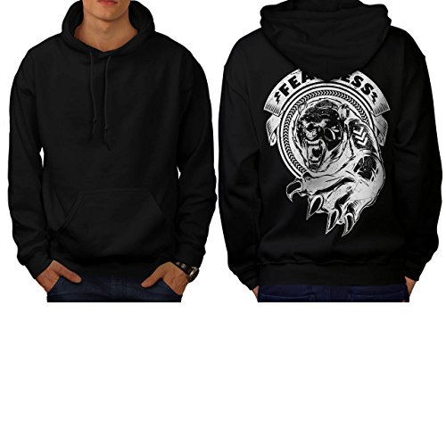 [Fearless Wild Animal Tiger Bear Men S Hoodie Back | Wellcoda] (Bear Jew Costume)