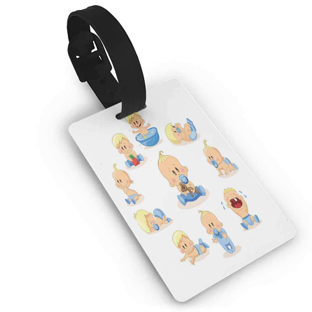 Funny luggage tag,Baby,An Assortment of Infant Items Toys Footprints Milk Bottles Flower Arrangement Design,Womens The Getaway Luggage Tag Multicolor