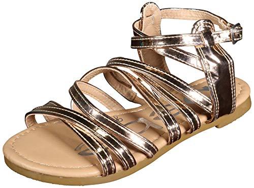 (bebe Girls Metallic Gladiator Sandals, Rose, Size 12 M US Little)
