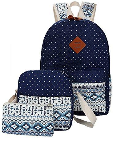 HONEYJOY Canvas Backpack Set 3 Pieces Kids Book Bag School Backpack Handbag Purse Girls Teen (Large, DarkBlue)