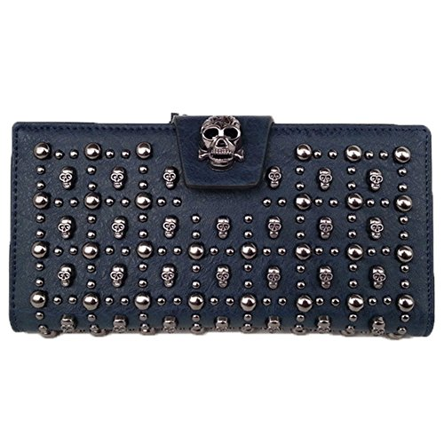 ladys-classical-navy-leather-skull-designer-clutch-purses-wallet