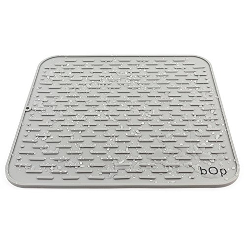 XXL 22''x18'' Gray Silicone Dish Drying Mat | Bar Mat | Anti-Bacterial, Dish Washer Safe | Heat Resistant Trivet (XXL Charcoal) by BOP Home Products