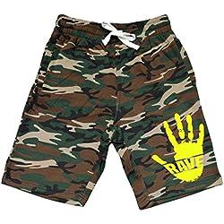 Men's Rave Hand Print V423 Camo Fleece Jogger Sweatpant Gym Shorts Medium Black