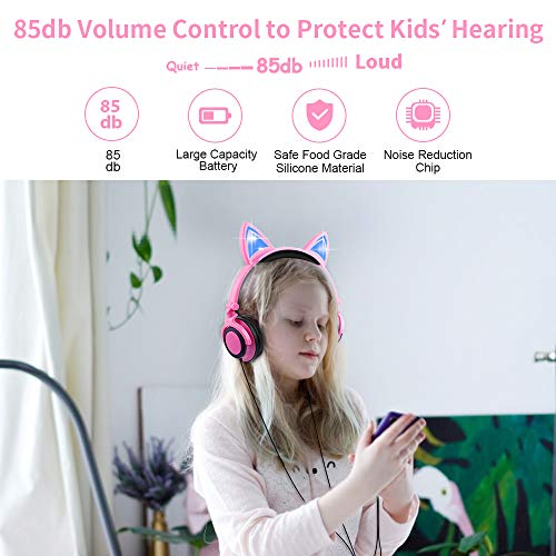Kids Headphones, Cat Ear Wired Headphones for Girls Boys, Over Ear Headset Foldable Adjustable 85db Volume Limited for iPhone/iPad/PC (Pink)