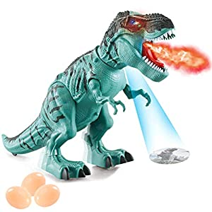 ruixin Dinosaur Toy – Multifunctional Walking Dinosaur Toy, Electric Toy for Children, Built-in Projection Spray and…