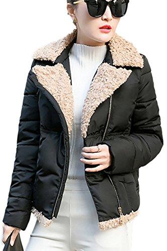 Casual tamaño abierto corto lana abrigo abrigos de la mujer Black