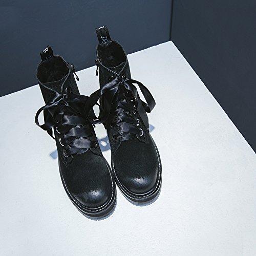 Zehe 38 KJJDE Neuheit Damen Stiefel Q2002 WSXY Komfort Black Stiefel amp; Runde Festivität Party Flacher Winter Absatz Freizeitschuhe Herbst EUwYUqrx