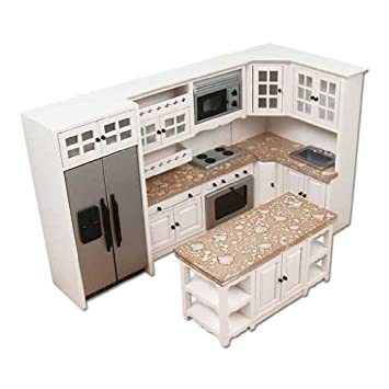 Amazoncom Dollhouse Miniature Modern White and Stainless Kitchen