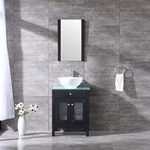 24' Bathroom Sink Basin (Bestmart INC 24'' Bathroom Wall-Mount Vanity Cabinet Ceramic Vessel Sink Basin Faucet Mirror and Free Drain)