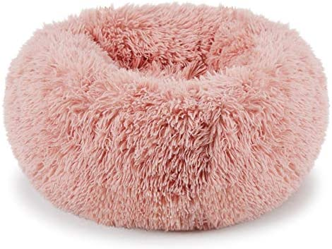 Neekor Cat Dog Beds, Soft Plush Donut Pet Bedding Winter Warm Sleeping Round Fluffy Pet Calming Bed Cuddler for Puppy Dogs Cats, Size Small Medium Large X Large