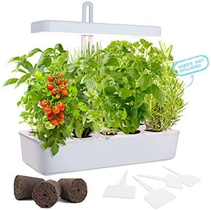 Amazon Com Growled Led Height Adjustable 10 Pod Indoor Garden Germination Kit Self Watering Herb Garden Hydroponic Kitchen Garden Automatic Timer Smart Soil Sponge Ideal For Various Plants Diy Decoration Home Improvement