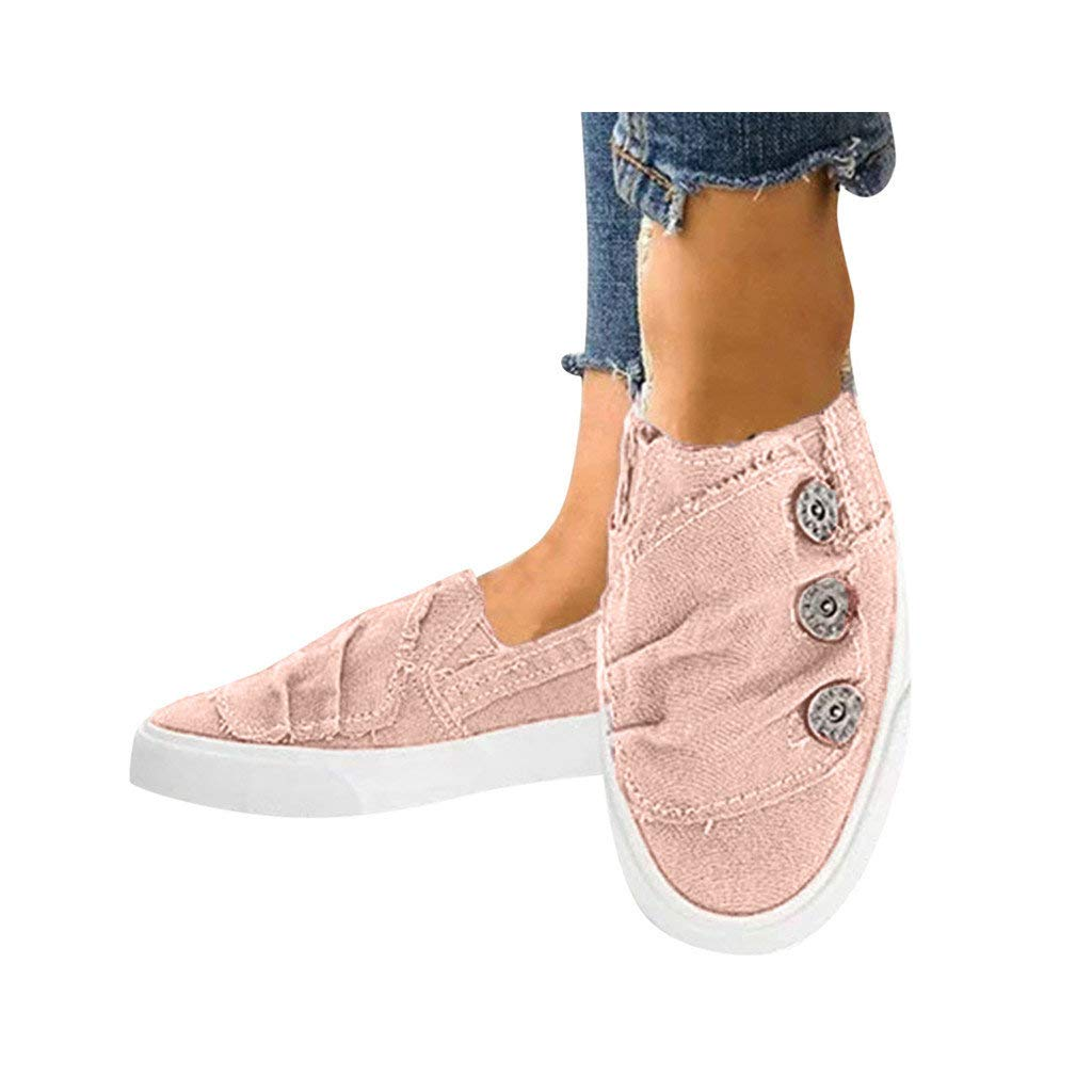 Dressin Women Loafers Vintage Outdoor Shoes Round Toe Flat Heel Casual Walking Shoes Cowboy Canvas Fashion Sneaker Pink