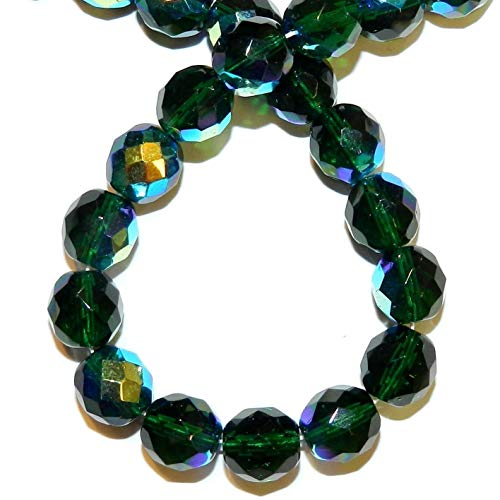 Bead Jewelry Making Emerald Green AB 10mm Fire-Polished Faceted Round Czech Glass Beads 16
