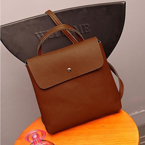 Travel Inkach Womens Brown Purse Bag Backpack School Rucksack Leather Satchel Fashion Bags OOpFxn8