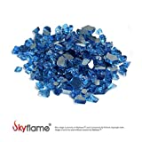 Skyflame 10-Pound Fire Glass for Fireplace Fire Pit and Landscaping, Pacific Blue Reflective, 1/2-Inch