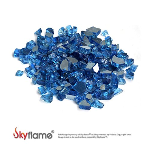 Skyflame 10-Pound Fire Glass for Fireplace Fire Pit and Landscaping, Pacific Blue Reflective, 1/2-Inch (Fire Pacific Glass Blue)