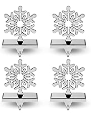 Season 4 Sparkles 4 Pieces Snowflake Stocking Holder Perfect for Hanging Stockings - Sturdy Christmas Stocking Holders for Fireplace Mantle as The Essential Christmas Decor