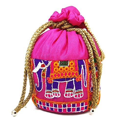 Regalos De La Bolsa De Color Rosa Bolsa Potli Floral Bordado Del Bolso Del Monedero Del Embrague De La Boda De Retorno Rosa-2