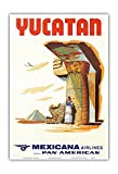 Yucatan Mexico - Mexicana Airlines CMA - Affiliate of Pan American - Mayan Ruins - Vintage Airline Travel Poster c.1960s - Master Art Print - 13in x 19in