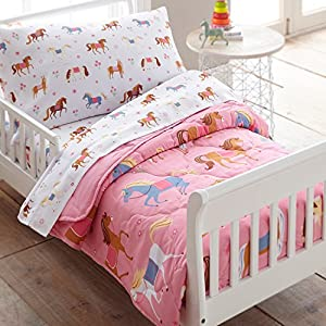 Wildkin Kids 4 Pc Toddler Bed In A Bag for Boys and Girls, Microfiber Bedding Set Includes Comforter, Flat Sheet, Fitted Sheet, and One Pillow Case, All Pieces Fit a Standard Crib Mattress, Horses