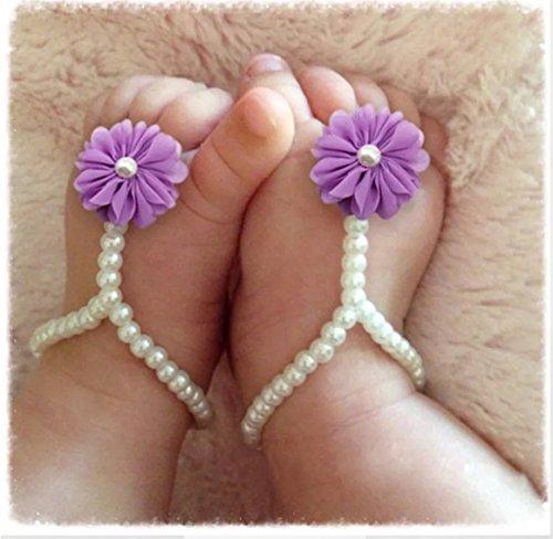 Infant Baby Barefoot Sandles. Shoe. fotwear. gasa. 14cm. morado