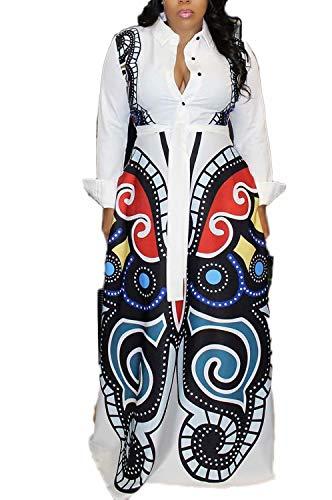 - Women Lapel Colar V Neck Button Maxi Floor Length Dress Club Party White XXL