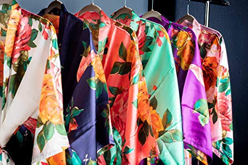 Ella Winston Satin Floral Watercolor Bridal Party Robes Available in Six Colors, Getting Ready Bridesmaid Robes
