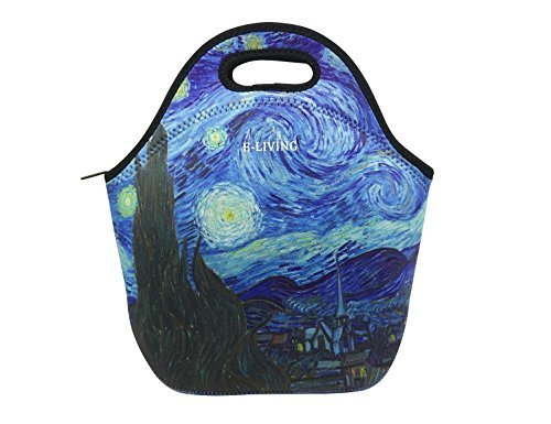 E-Living Neoprene Lunch Tote Bag - 4 Designs with Van Gogh/Monet Oil Painting Masterpieces (Almond Blossom/Starry Night/Water Liles) (Starry Night) - Monet Van Gogh