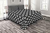 Lunarable Ethnic Bedspread Set King Size, Monochrome Grid Mosaic with Primitive Country Pattern and Weathered Grunge Look, Decorative Quilted 3 Piece Coverlet Set with 2 Pillow Shams, Black White