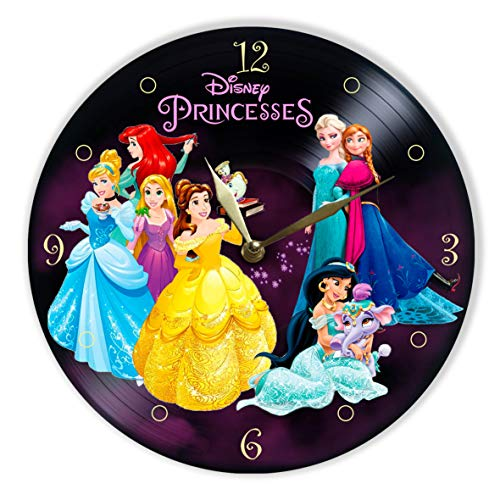 (MiraG Disney Princesses Painted Vinyl Clock - Disney Princess Colored Wall Clock - Unique Gifts for Fans Princesses - The Best Home Decor)