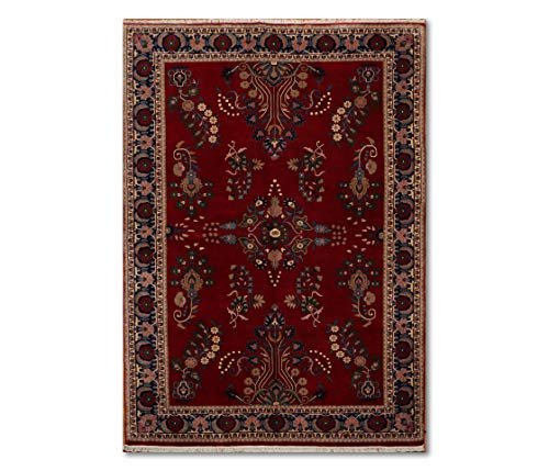 6'x9' Deep red Beige Tan, Blue, Green, Multi Color Hand-Knotted Oriental Area Rug 100% Wool Traditional Persian Indian sarouk Design Oriental Rug