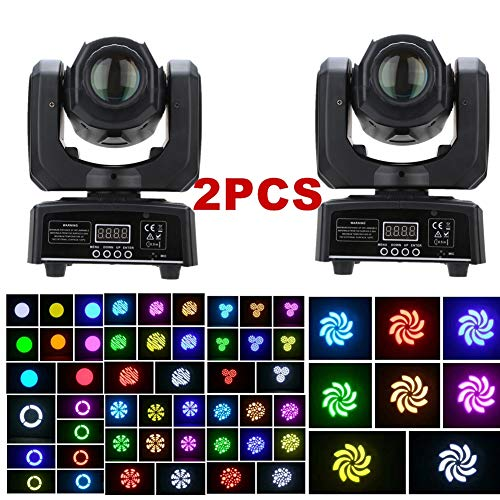 - XPC Moving Head Light 8 colors and 8 gobos Spot Light led sound activated professional 9/11 channel Stage Light for Disco KTV club party wedding (2Pack)