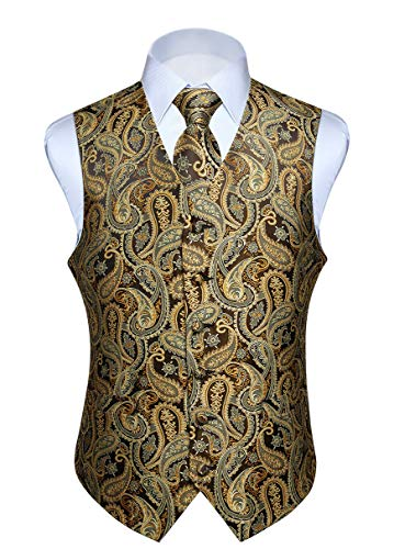 HISDERN Men's Paisley Floral Jacquard Waistcoat & Neck Tie and Pocket Square Vest Suit Set Gold