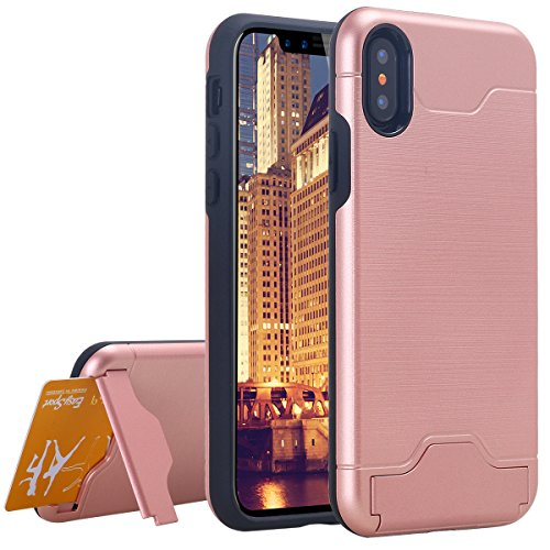 Custodia iPhone X,Custodia iPhone 10,iPhone X Case Snewill Credit Card Holder Slot Case Kickstand Shock Absorbing Dual Layer Brush Matte Case Cover for Apple iPhone X - Black Rose Gold