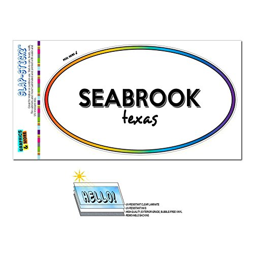 Graphics and More Rainbow Euro Oval Window Bumper Laminated Sticker Texas TX City State Rus - Ven - Seabrook -