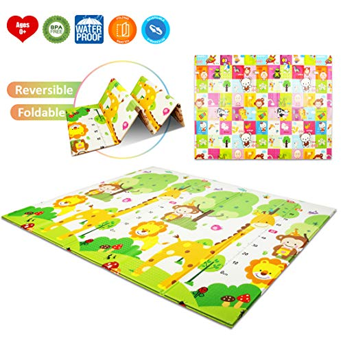 AIMERDAY Play Mat Folding Foam Playmat Tummy Time Activity Gym Mat Extra Large Crawling Mat Non-Toxic Thick Reversible Waterproof Portable Floor Exercise Mat, 77