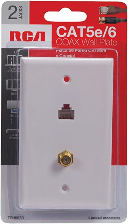 Amazon.com: RCA Cat 5e/6 F Connector Wall Plate (TPH557R),Multicolor: Home  Audio & Theater | Red To Yellow Plate Black Cat 5 Wiring Diagram Wall |  | Amazon.com