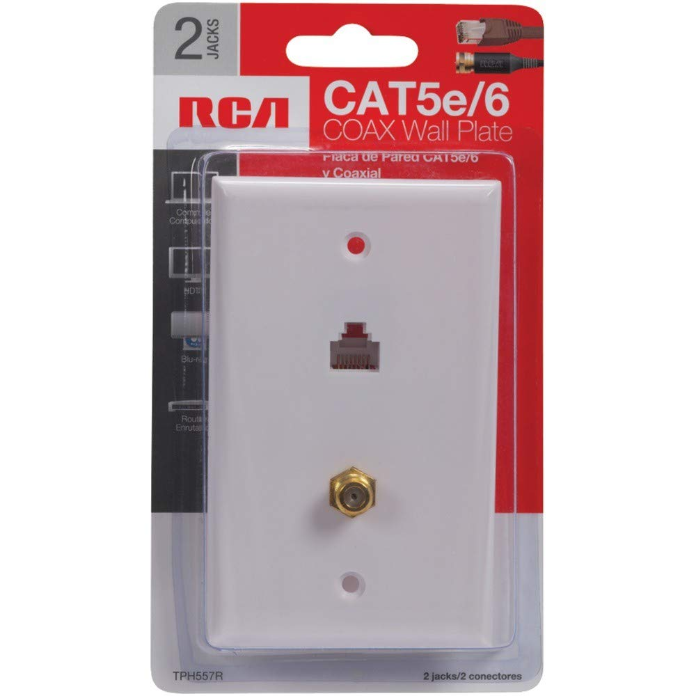 Rca Cat 5e 6 F Connector Wall Plate Tph557r Home To Rj45 Wiring Diagram Audio Theater