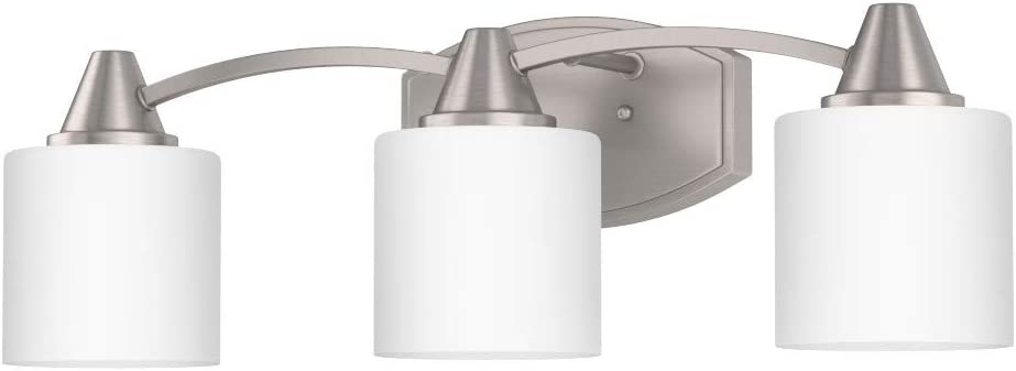 Park Harbor PHVL2263BN Eastover 3 Light 23 Wide Bathroom Vanity Light with Frosted Glass Shades