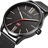 Men Business Watches Black with Stainless Steel Mesh Band, MF MINI FOCUS Waterproof 30M Quartz Wristwatch for Men's Gift