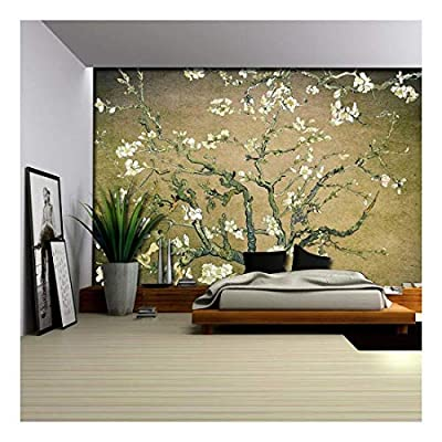Olive Green Vignette Almond Blossom by Vincent Van Gogh - Wall Mural, Removable Sticker, Home Decor - 66x96 inches