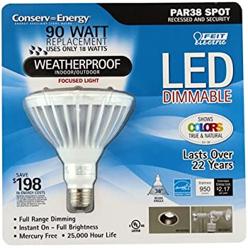Feit Electric: PAR38 Dimmable LED Light Bulb   Weatherproof, Indoor/Outdoor  90W/