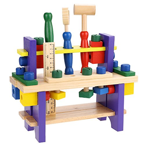 Arshiner Wooden Tool Kits Workbench Play Carpentry Construction Toy Set for Kids