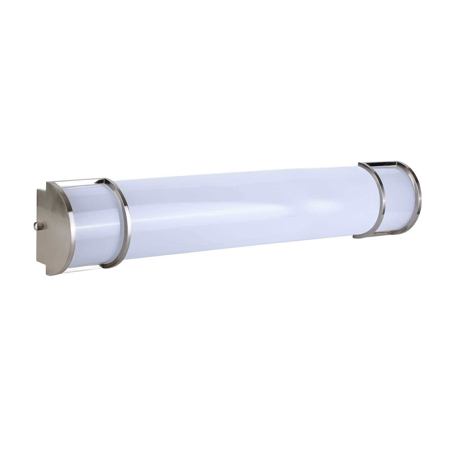 OSTWIN 24 Inch Dimmable LED Linear Bath Vanity Light Bar, Modern Bathroom Vanity Light Fixture 25W 5000K Daylight, Vertical or Horizontal Tube, Brushed Nickel Finish, ETL&Energy Star Listed