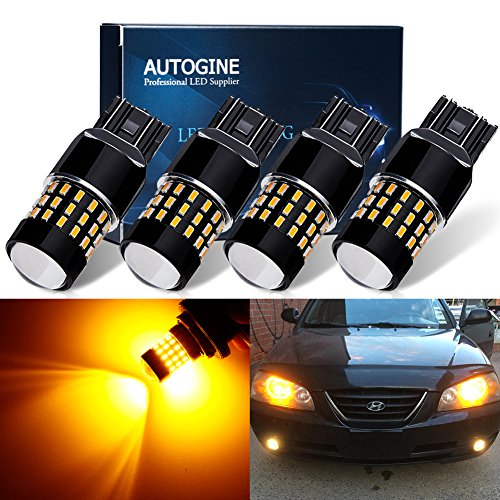 AUTOGINE 4 X Super Bright 9-30V 7440 7441 7443 7444 992 LED Bulbs 3014 54-EX Chipsets with Projector for Turn Signal Lights Sidemarker Lights, Amber Yellow