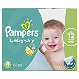 Pampers Diapers Size 4, Baby Dry Disposable Baby Diapers, 168 Count, Economy Pack Plus
