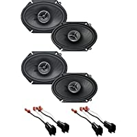 Kenwood Excelon KFC-X683C 6x8 Inch 2-Way Custom Fit Speaker System (2Pairs) With (2Pairs) Metra 72-5600 Ford Speaker Harness 1998-UP