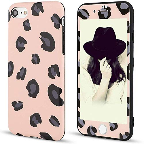 for iPhone 7 / iPhone 8 Case LAPOPNUT Trendy Leopard Print Case [ Tempered Glass Screen Protector ] Protective Slim Shockproof Flexible Back Bumper Cover Case for iPhone 7 / iPhone 8 Pink